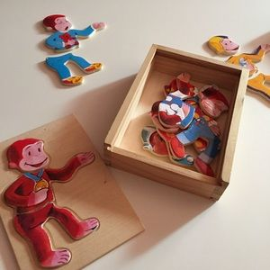 VTG Curious George Wooden Dress Up Puzzle